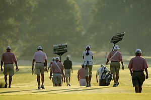 The first match of the morning heads out during the semifinals at the 2014 U.S. Amateur at the Atlanta Athletic Club.
