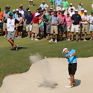 Corey Conners hits a bunker shot at No. 12 during the finals at the 2014 U.S. Amateur at the Atlanta Athletic Club.