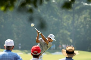 Gunn Yang at No 10 during the finals at the 2014 U.S. Amateur at the Atlanta Athletic Club.