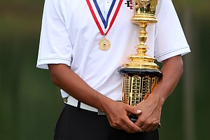 Gunn Yang with the Havemeyer Trophy at finals at the 2014 U.S. Amateur at the Atlanta Athletic Club.--(Golfweek/Tracy Wilcox)