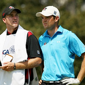 Corey Conners with his caddie, Taylor Pendrith, during the finals at the 2014 U.S. Amateur at the Atlanta Athletic Club.