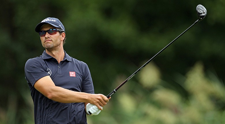 Adam Scott during the second round of The Barclays