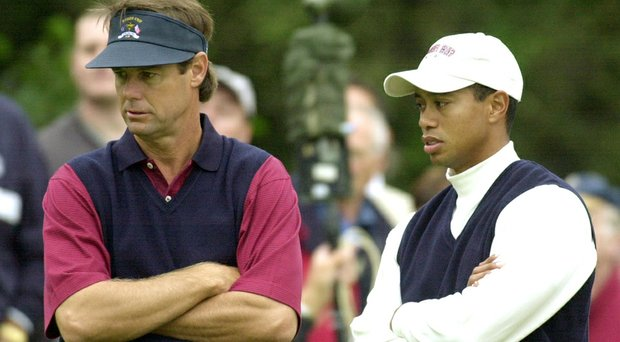 Paul Azinger, left, and Tiger Woods were teammates on the 2002 U.S. Ryder Cup team.