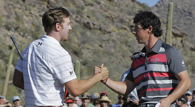 Hunter Mahan and Rory McIlroy will share a tee time at the PGA Tour's Deutsche Bank Championship as the 2014 FedEx Cup playoffs continue (shown here during the 2012 WGC-Match Play).