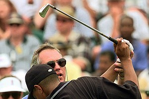 Butch Harmon works with Tiger Woods on his swing at the 1997 U.S. Open at Congressional.