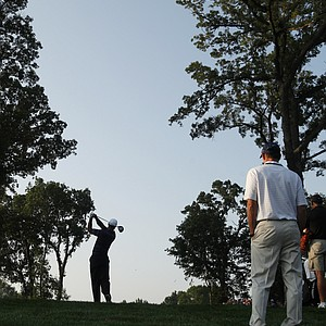 Hank Haney works with Tiger Woods at the 2009 PGA Championship at Hazeltine.