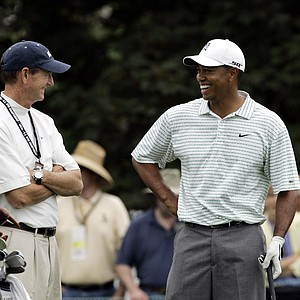 Hank Haney works with Tiger Woods at the 2006 U.S. Open at Winged Foot.