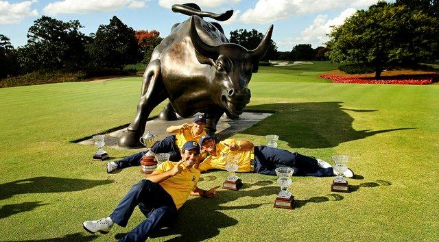 Members of the Cal men's golf team celebrate after winning the 2012 Isleworth Collegiate Invitational.