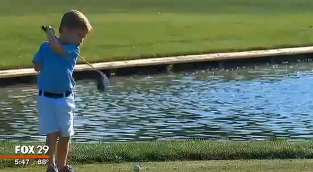 Tommy Morrissey, a 3-year-old born with one arm, can hit a golf ball 100 yards.