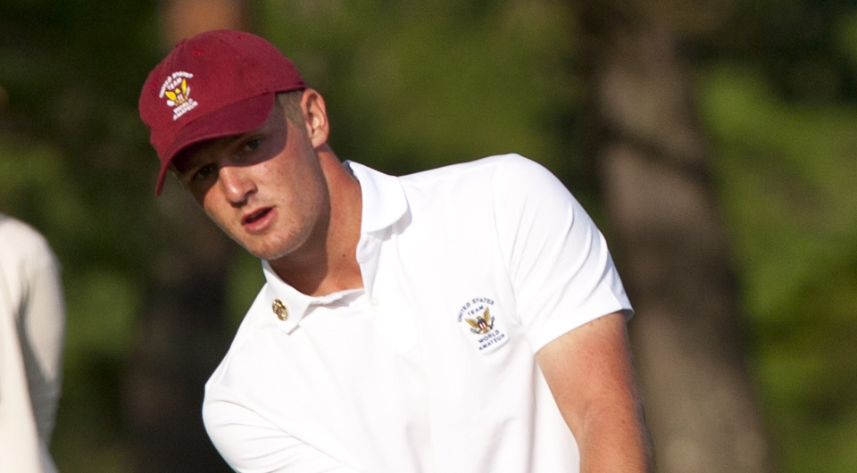 SMU's Bryson Dechambeau fired an event-record 10-under 61 Thursday to help the U.S. take the lead at the World Amateur Team Championship.