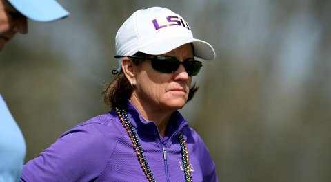 LSU women's golf head coach Karen Bahnsen and the Tigers lead after the first round of the 2014 Mason Rudolph Championship.