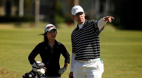 Vanderbilt women's head coach Greg Allen with Jenny Hahn.