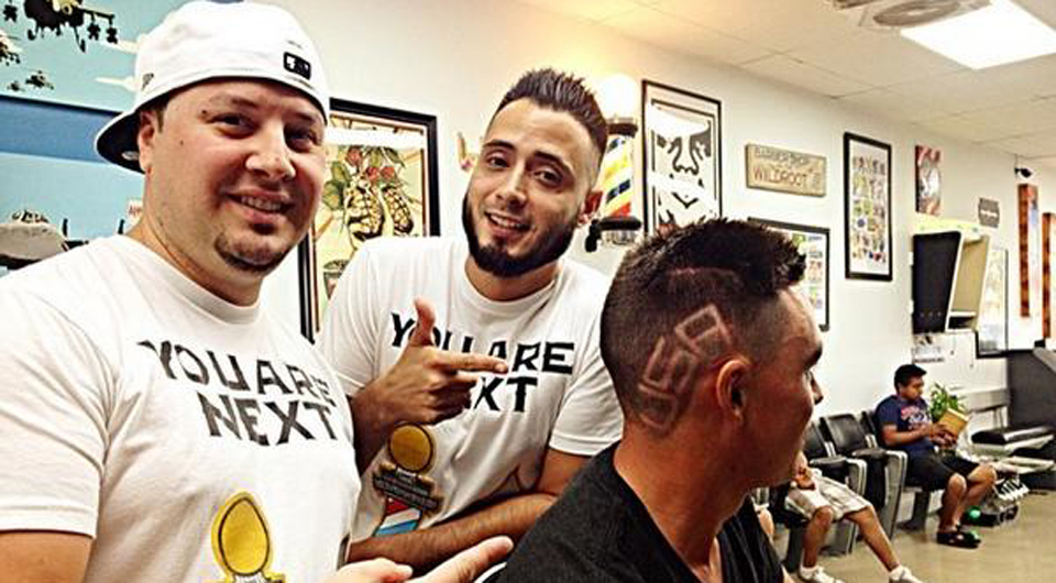 Rickie Fowler prepares for Ryder Cup week by getting a team USA haircut.