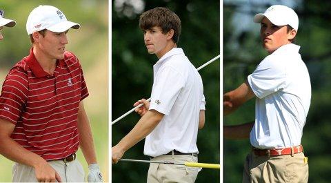 From left: Alabama's Robby Shelton, Georgia Tech's Ollie Schniederjans and Texas' Gavin Hall