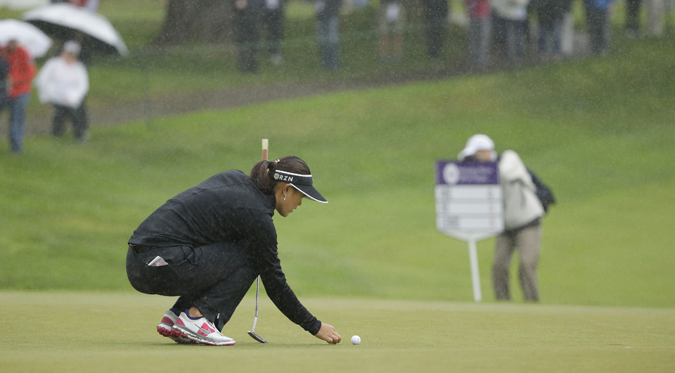 The second round of the Blue Bay LPGA was suspended by heavy rains, and the event shortened to 54 holes in Hainan Island, China.