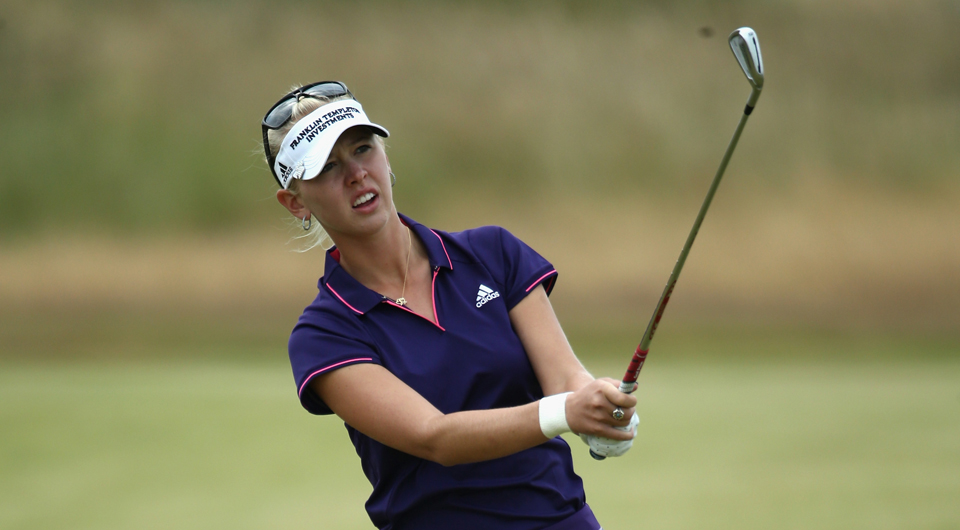 Jessica Korda overcame an opening double bogey Saturday to card a second-round 67 and join Lee-Anne Pace in the lead at the Blue Bay LPGA.