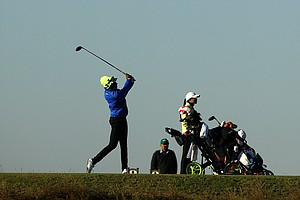 Alex Wright hits her tee shot at No. 1 on the National course during the Golfweek International Junior Invitational.