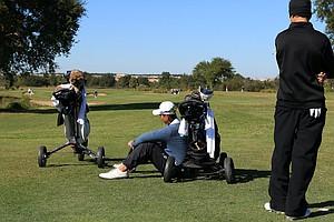 Tony Jiang and Andrew Walker wait at No. 2 during the Golfweek International Junior Invitational at ChampionsGate.