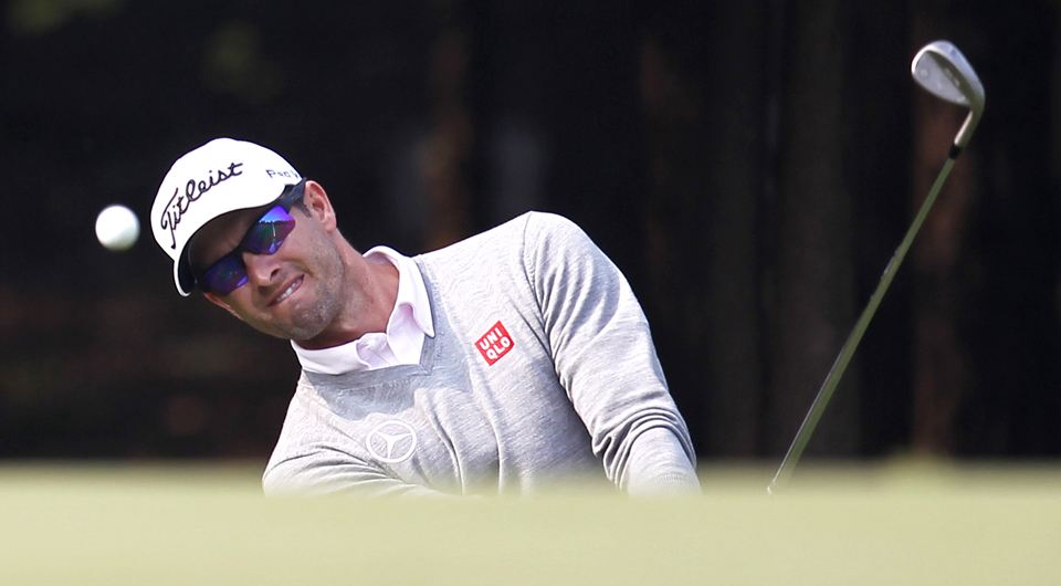 Adam Scott shot 1-under 71 in the third round of the Australian Masters Saturday at Metropolitan Golf Course and now trails leader Paul Spargo by four shots.