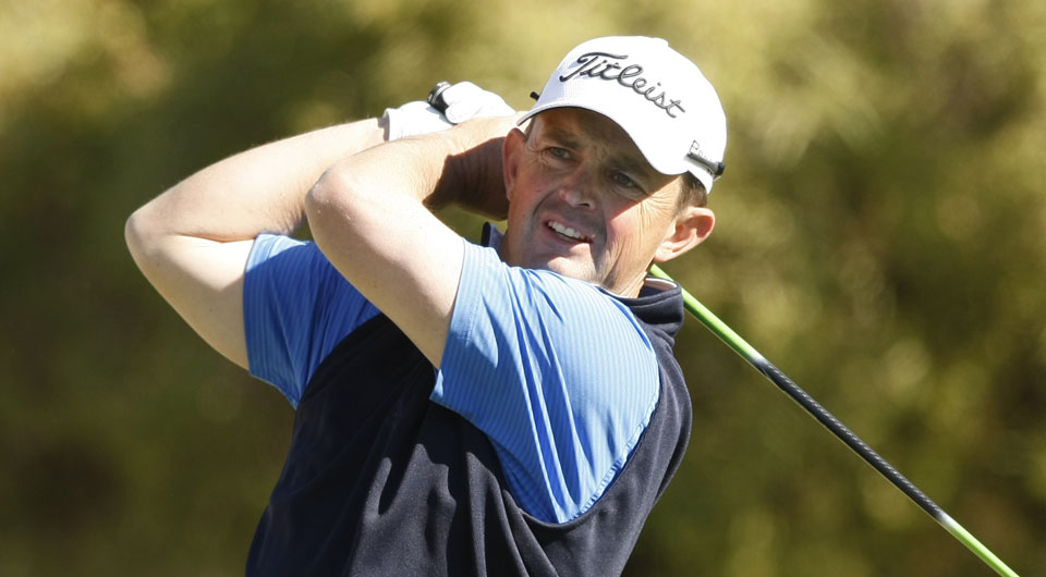 Greg Chalmers� tee shot at the par-3 11th Friday at The Australian Golf Club hit a fan, then nearly found the hole for an ace.