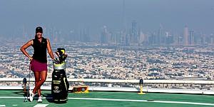 Cheyenne Woods tees off atop Dubai hotel