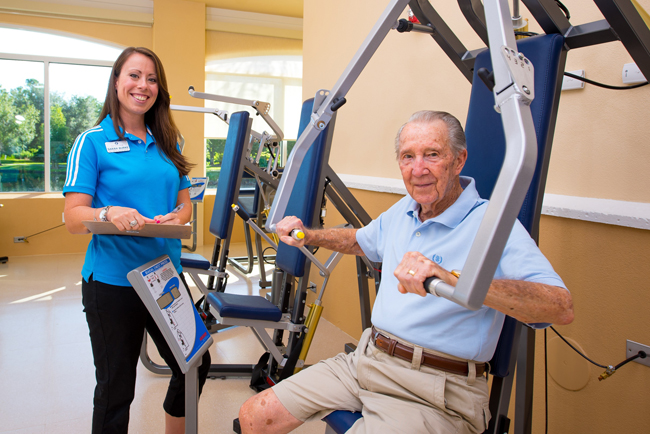 Retirement community gym uses air resistance to get fit safely for Gimnasio jump lugo