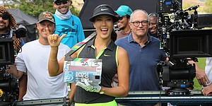 Michelle Wie on set