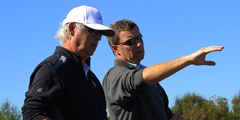 Architect Gil Hanse, right, and developer George Bryan are part of the Mossy Oak Golf Club project.