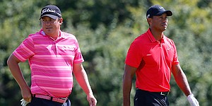 Tiger Woods, Jason Dufner meet up for British Open practice round