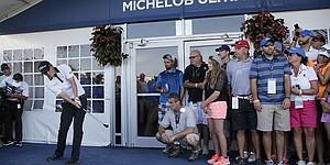 Matt Jones plays from hospitality tent at PGA Championship