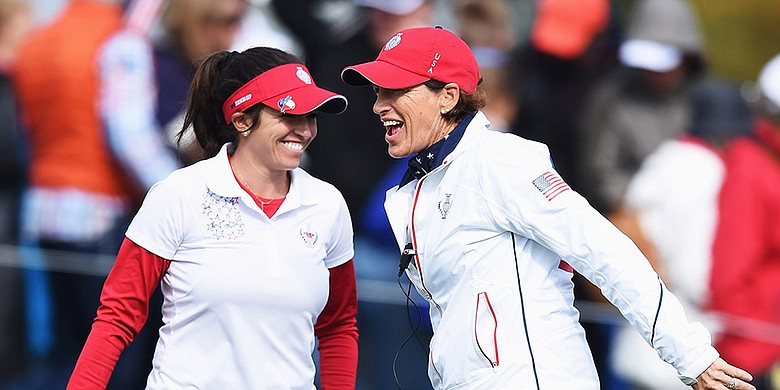 From left: Gerina Piller and Juli Inkster at the 2015 Solheim Cup
