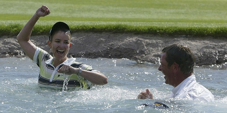Karrie Webb and Mike Paterson after Webb's 2006 Kraft Nabisco Championship win