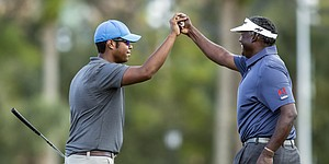 Vijay and Qass Singh power their way to 59 and Father/Son lead