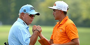 Rickie Fowler having fun with Butch Harmon as swing coach