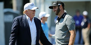 Trump arrives to much fanfare at Doral, talks Tour future with Finchem