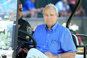 Arnold Palmer watched some players on the range on Tuesday at the Arnold Palmer Invitational at Bay Hill Club and Lodge.