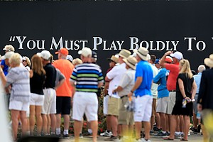A billboard near the 10th tee during the Arnold Palmer Invitational at Bay Hill Club and Lodge.