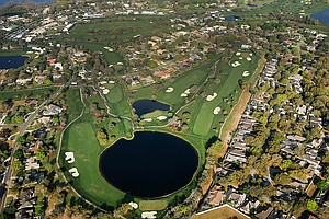 A view of several golf holes at Bay Hill from the Snoopy 1, Met Life blimp during the Arnold Palmer Invitational at Bay Hill Club and Lodge.