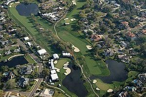 A view of 16, 17, and 18 on Bay Hill from the Snoopy 1, Met Life blimp during the Arnold Palmer Invitational at Bay Hill Club and Lodge.