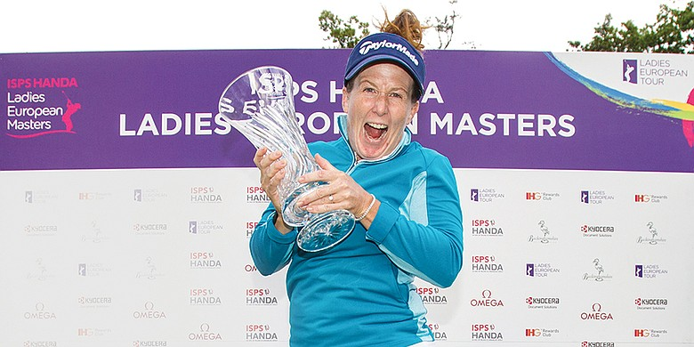 Beth Allen celebrates her first victory, at last year's ISPS Handa Ladies European Masters.