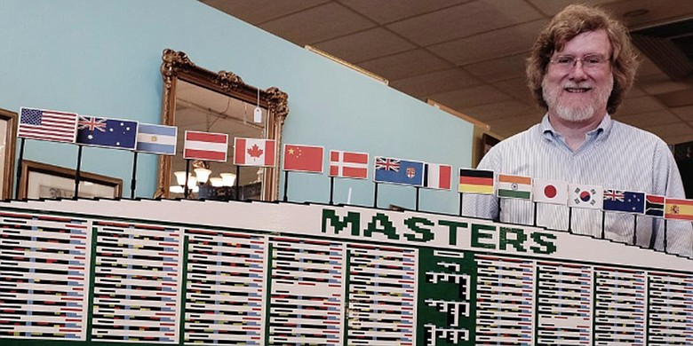 Andy Puckett's Legos replica of the Masters Tournament scoreboard