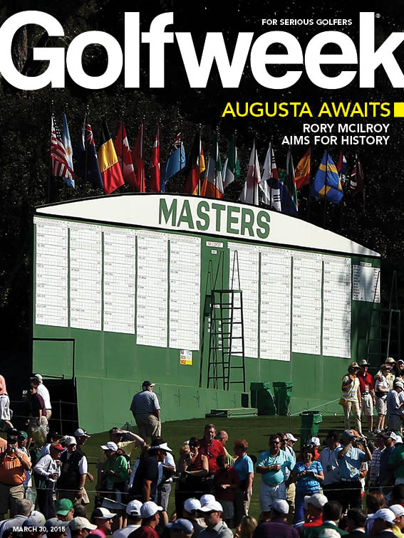 Golfweek's March 30, 2015 cover, the likely inspiration for Duckett's Lego replica of the Masters scoreboard