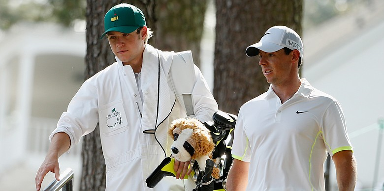Niall Horan, of the band One Direction, and Rory McIlroy at the 2015 Masters Par 3 Contest