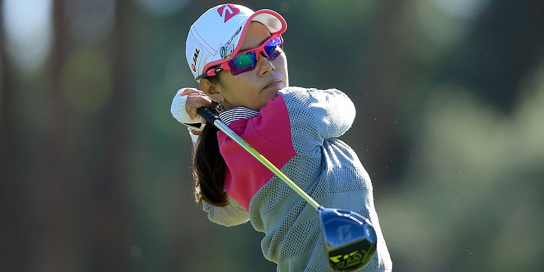 Ai Miyazato co-leads after the first round of the ANA Inspiration.