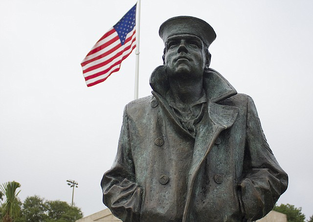 """Boats,"" the 7-foot-tall statue, stands watch over Blue Jacket Park."