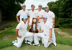 The five members of the Augusta State Jaguars react to winning the national championship.