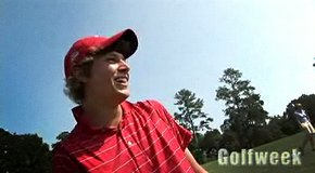 Peter Uihlein, Bud Cauley, Morgan Hoffmann, Sean Dale and Tommy Mou use unconventional methods to attack the 17th hole at TPC Sawgrass.