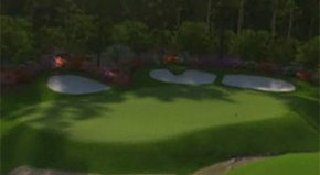 EA Sports creates a fly-over view of the 12th hole of the Augusta National Golf Club in Augusta, Ga.
