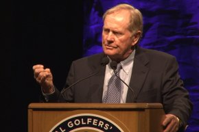 "Jack Nicklaus, joined by Ken Griffey Jr, Joe Steranka, Frank Sanchez Jr, and Mike Davis, delivered a keynote address about the future of golf and ""Golf 2.0"" at the 2012 PGA Merchandise Show."