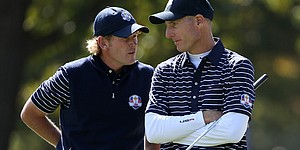 Furyk interviews partner Snedeker after victory